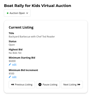 Admin portal of live auctions where you can control the live item listings with a few buttons