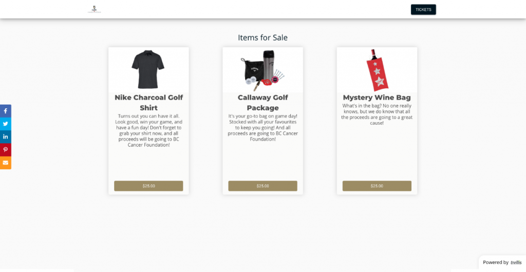 Mackenzie PGA Tour example of selling items on trellis page.