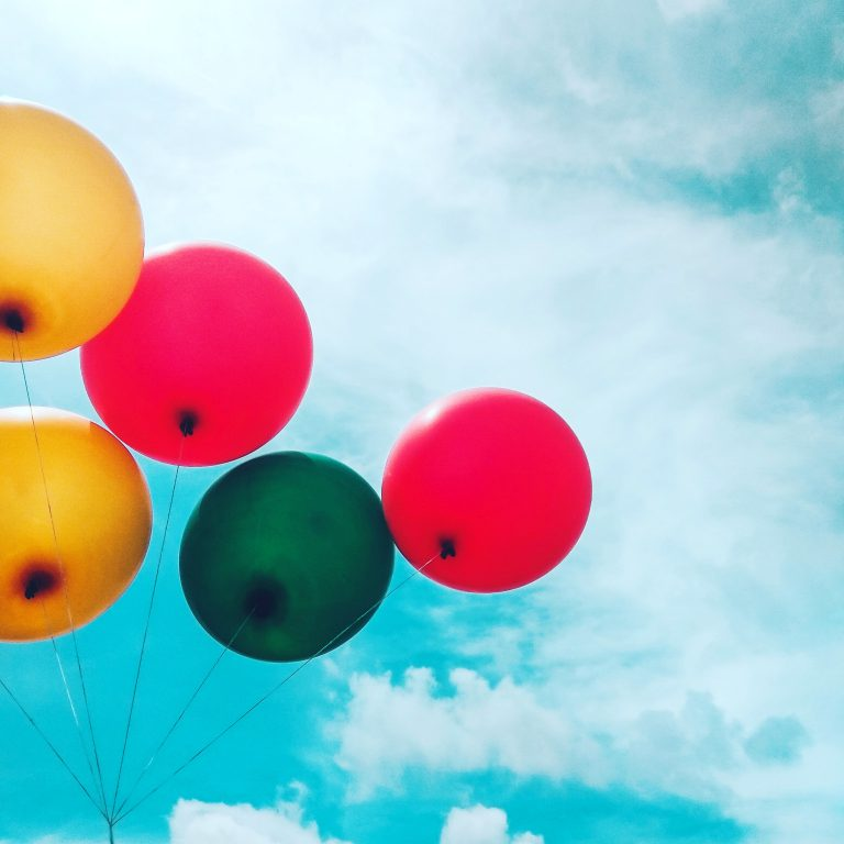 Colorful balloons on a blue sky